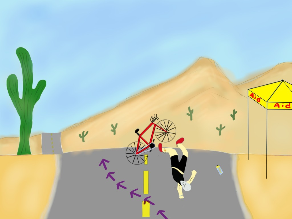 Diagram of a crash in front of me at the 2013 Ironman Arizona