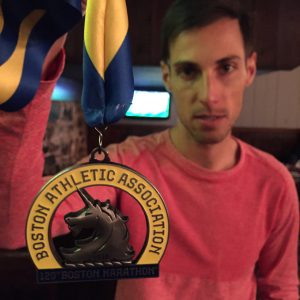 Erich Wegscheider after the 2016 Boston Marathon